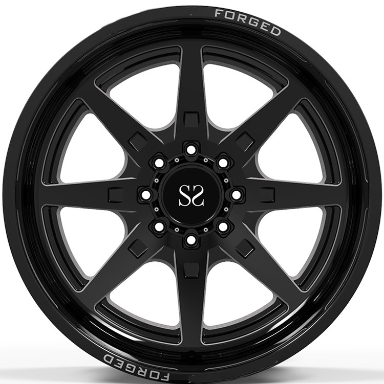 22x10, 22x12, and 22x14  Gloss Black Milling Windows 4x4 Wheels / Deep Lip Forged Off Road Rims