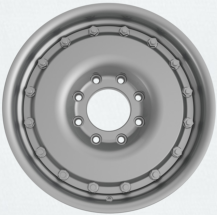 Silver 8.0Jx18 inch 20 inch 8x165.1 Heavy Duty 1800kg 2 piece bolted Military Army Truck Forged Wheel Rim